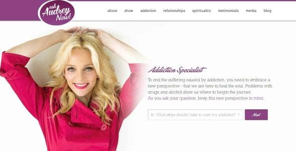 Screenshot of Audrey Hope's website