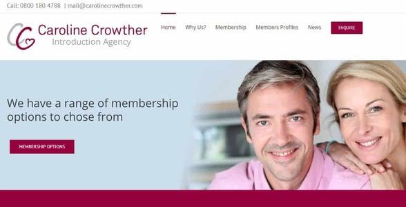 Screenshot of the Caroline Crowther website