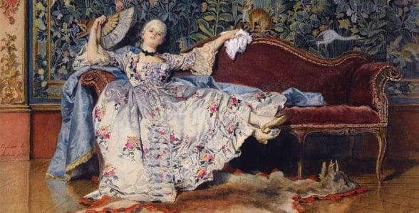 Portrait of a woman reclining with a fan