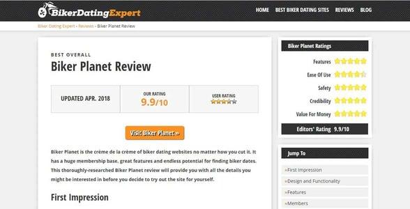 Screenshot of BikerDatingExpert's reviews