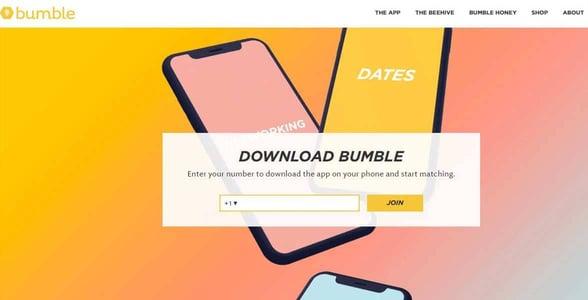 Screenshot of Bumble's website