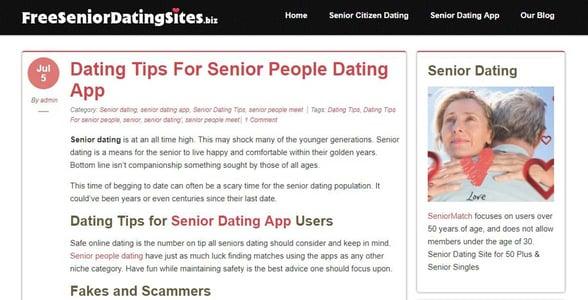 Screenshot of the FreeSeniorDatingSites.biz blog