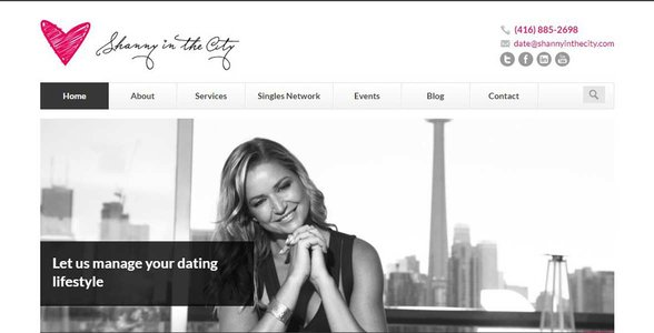 Screenshot of Shanny in the City's homepage