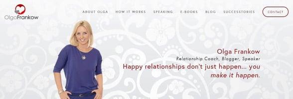 Screenshot of Olga Frankow's website