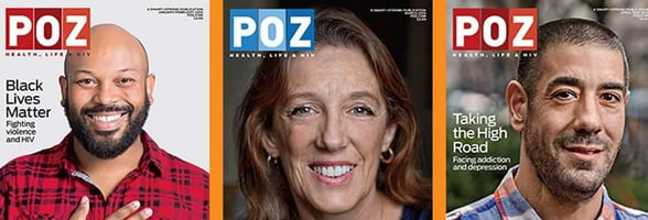 Photos of POZ Magazine covers