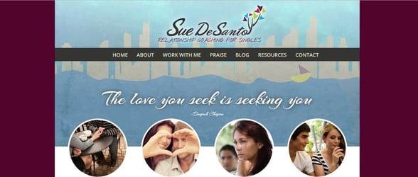 Screenshot of Sue Desanto's website