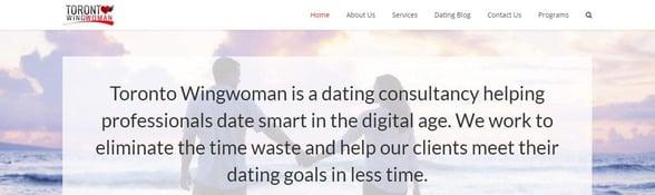 Screenshot of Toronto Wingwoman's homepage