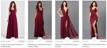 Screenshot of PromGirl burgundy dresses