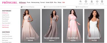 Screenshot of PromGirl dress options