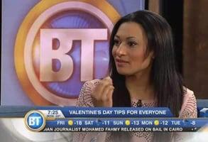 Photo of Natacha Noël being interviewed on TV