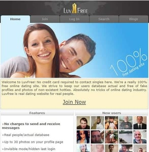 Screenshot of LuvFree.com's homepage