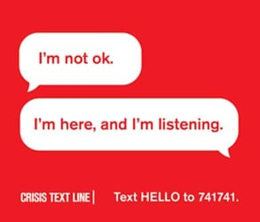 An ad for Crisis Text Line