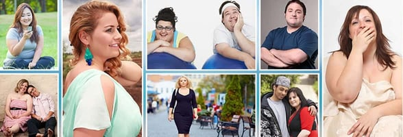 A picture collage of plus-size daters