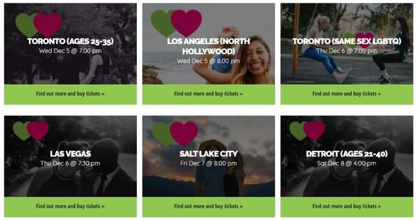 Screenshot of the Find Veg Love events page