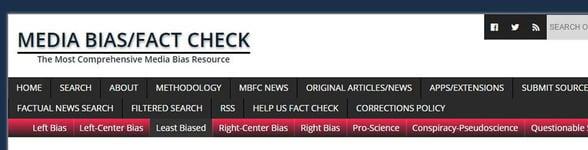 Screenshot of Media Bias/Fact Check's homepage