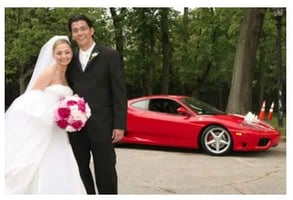 Photo of Andre and his bride with their Gotham Dream Cars rental