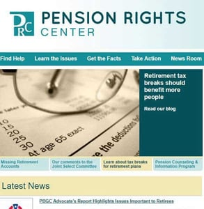 Screenshot of Pension Rights Center's homepage