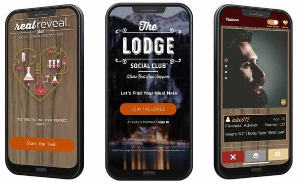 Screenshots of The Lodge Social Club app