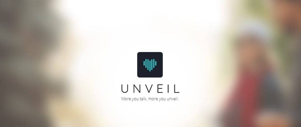Screenshot of the Unveil homepage