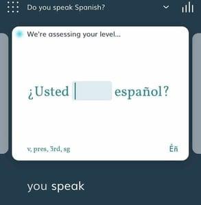 Screenshot of a Lingvist flashcard