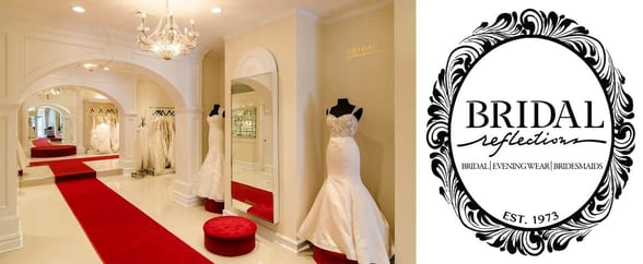 Collage of the Bridal Reflections shop and logo