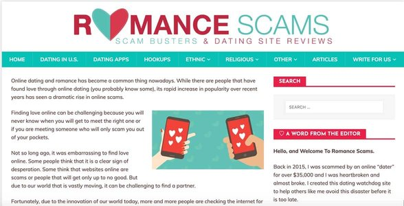 Screenshot of RomanceScams.org