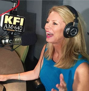 Photo of Dr. Wendy Walsh podcasting