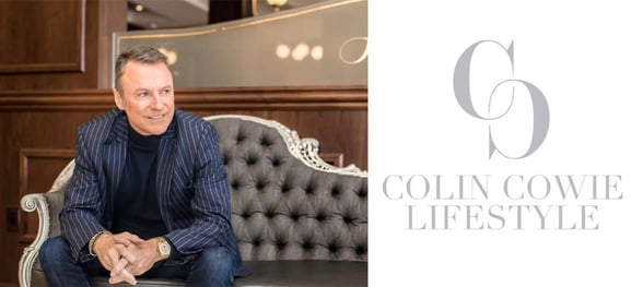 Collage of Colin Cowie and his lifestyle brand logo