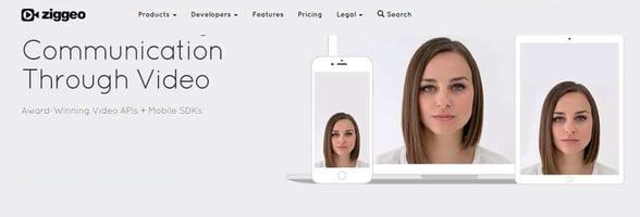 Screenshot of Ziggeo's website