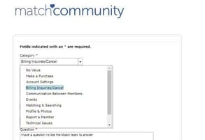 Screenshot of Match.com's contact page