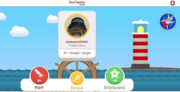 Screenshot of the SeaCaptainDate app
