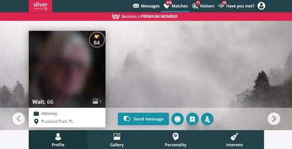 Screenshot of SilverSingles dating profile