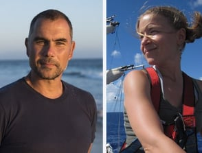 Photo of 5 Gyres Institute Co-Founders Marcus Eriksen and Anna Cummins