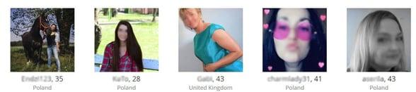 Screenshot of PolishGirl4U.com profiles
