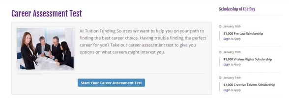 Screenshot of the TFS career assessment