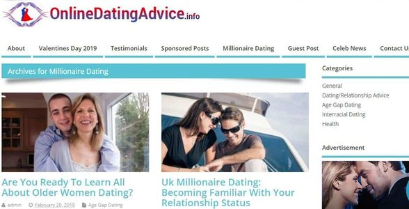 Screenshot of OnlineDatingAdvice.info