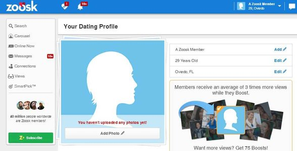 Photo of a Zoosk profile