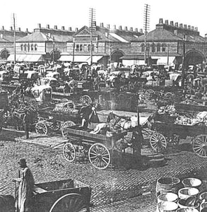 Photo of wagons at the old Gansevoort Market