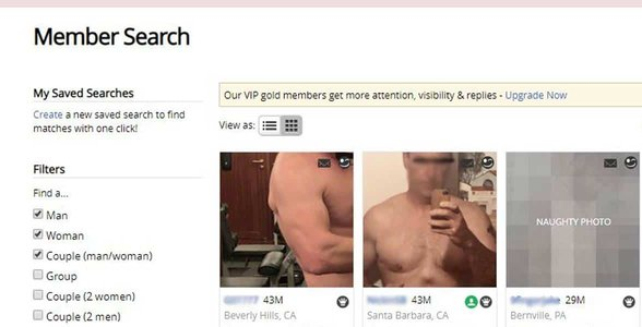 Screenshot of AFF's search page