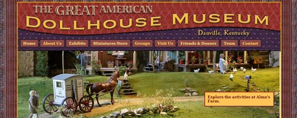 Screenshot of the Dollhouse Museum website