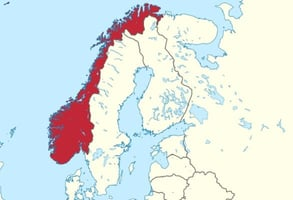 Photo of Norway on a map
