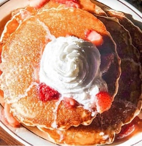 Photo of strawberry pancakes