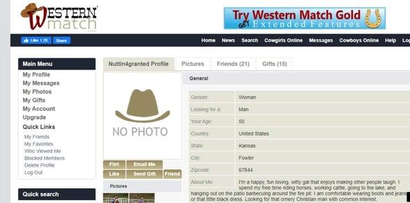 Screenshot of a Western Match profile