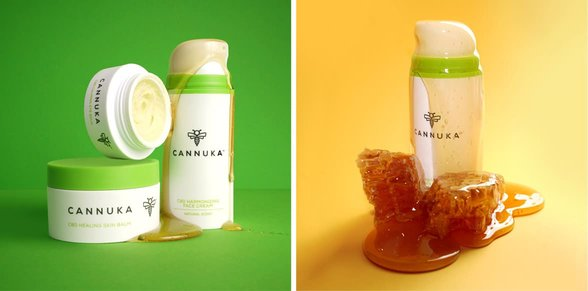 Collage of photos of Cannuka products