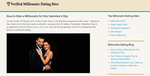 Screenshot of Verified Millionaire Dating Sites