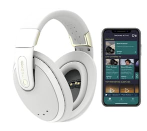 Photo of Kokoon headphones and app screenshot