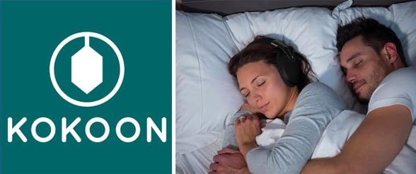Collage of Kokoon logo and couple with Kokoon headphones