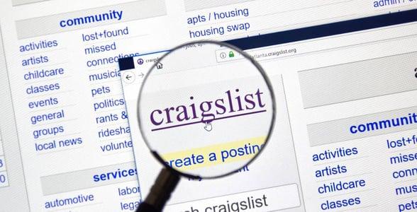 Screenshot of Craigslist