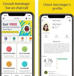 Screenshots of AstroTalk's app