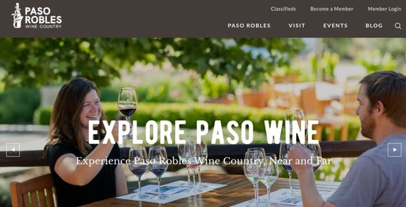Screenshot of the Paso Robles Wine Country website